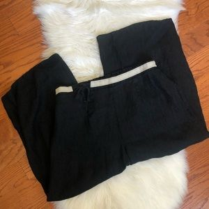 Flax black linen cropped pants with tie
